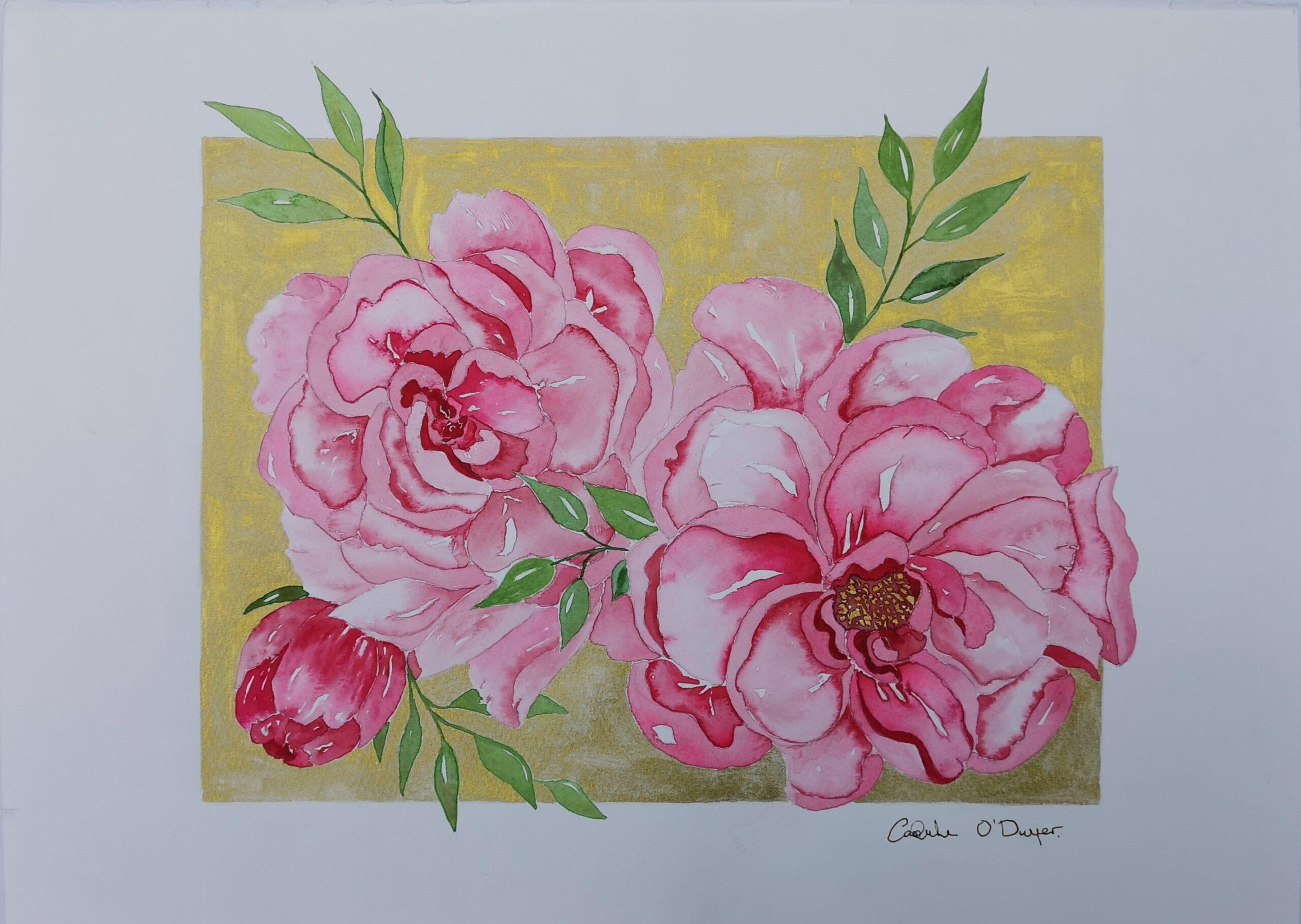 Magenta Peony Watercolour Caoimhe O'Dwyer